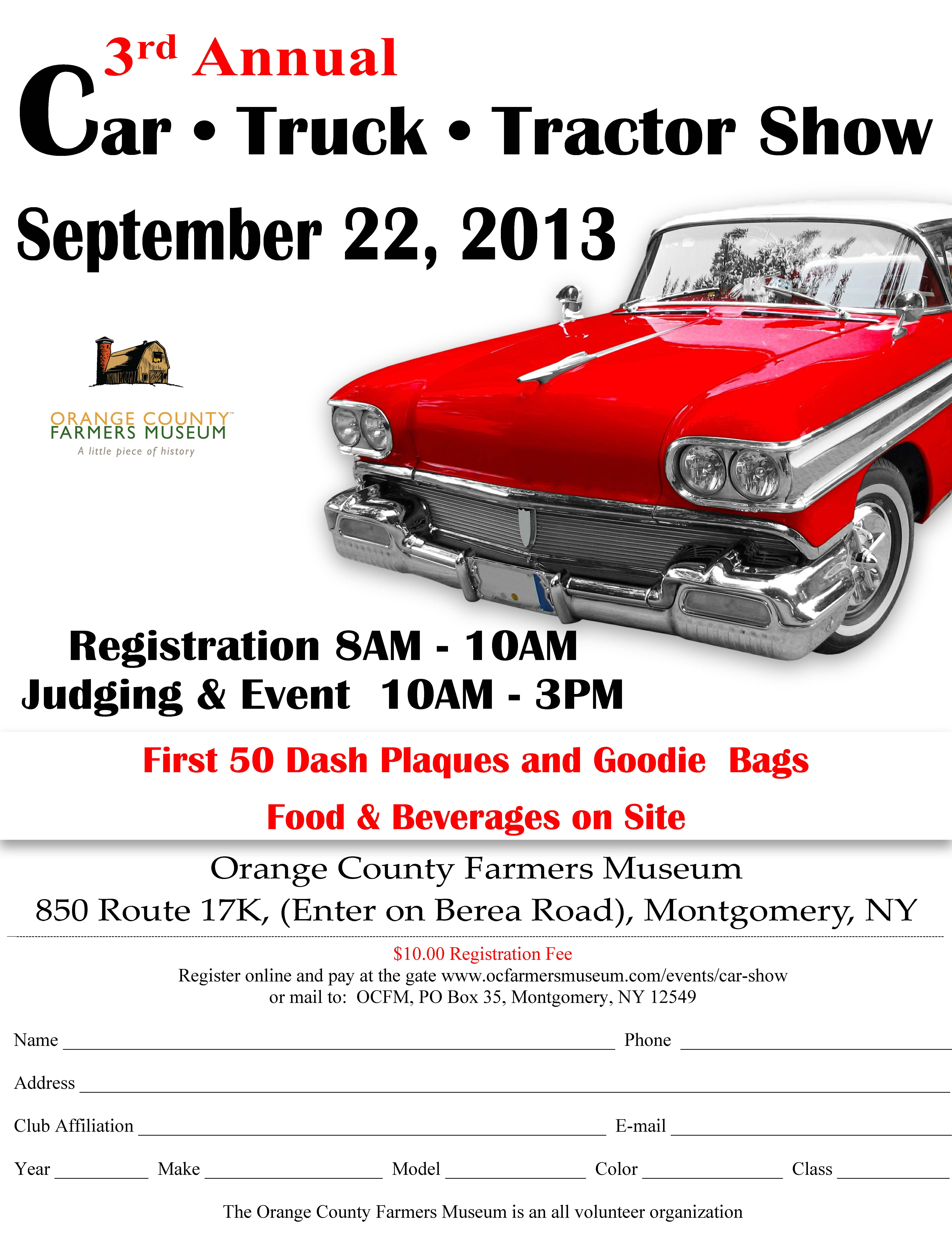Car Show Flyer Orange County Farmers Museum